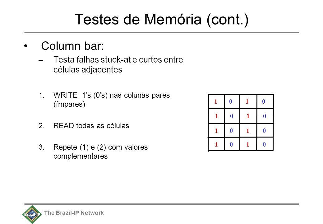 The Brazil-IP Network Testes de Memória (cont.) Column bar: –Testa falhas stuck-at e curtos entre células adjacentes 1.WRITE 1s (0s) nas colunas pares (ímpares) 2.READ todas as células 3.Repete (1) e (2) com valores complementares 1 0 1 0