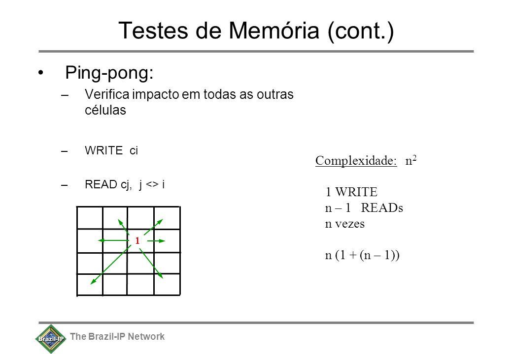 The Brazil-IP Network Testes de Memória (cont.) Ping-pong: –Verifica impacto em todas as outras células –WRITE ci –READ cj, j <> i 1 Complexidade: n 2 1 WRITE n – 1 READs n vezes n (1 + (n – 1))