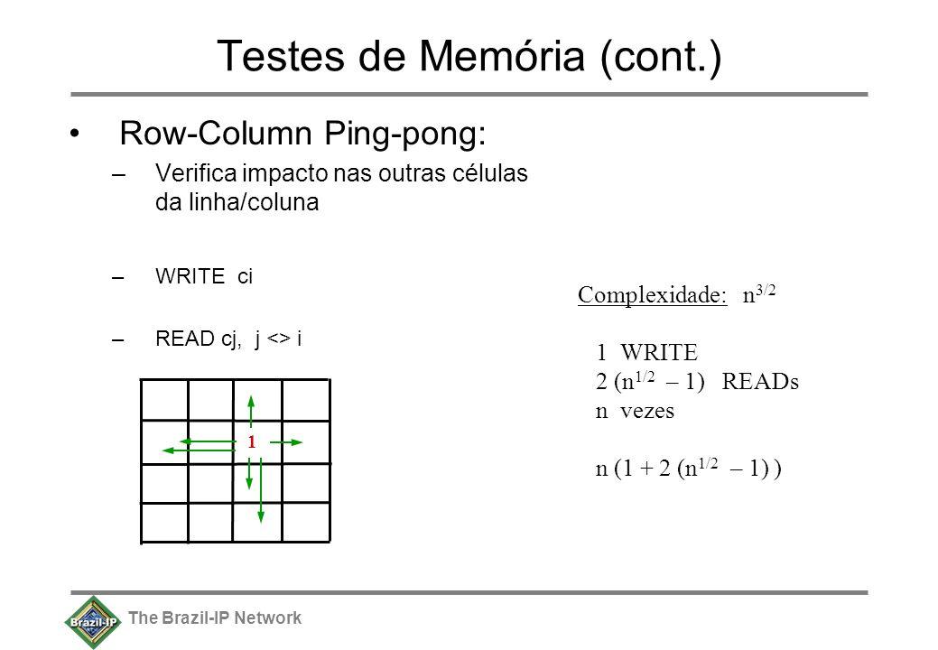 The Brazil-IP Network Testes de Memória (cont.) Row-Column Ping-pong: –Verifica impacto nas outras células da linha/coluna –WRITE ci –READ cj, j <> i 1 Complexidade: n 3/2 1 WRITE 2 (n 1/2 – 1) READs n vezes n (1 + 2 (n 1/2 – 1) )