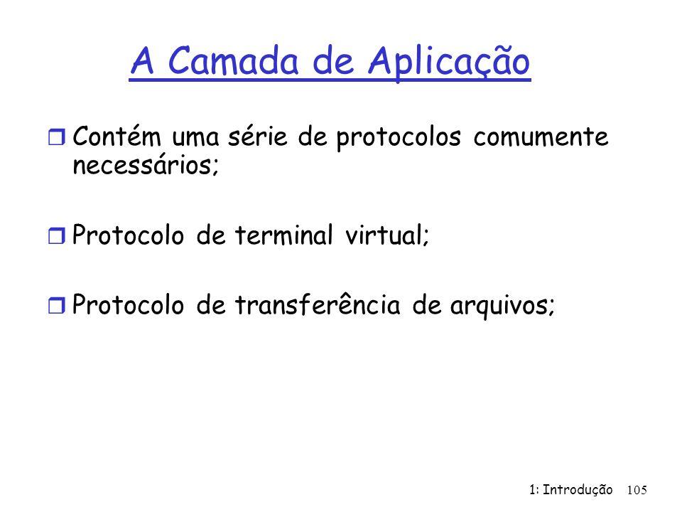 1: Introdução 105 A Camada de Aplicação r Contém uma série de protocolos comumente necessários; r Protocolo de terminal virtual; r Protocolo de transferência de arquivos;