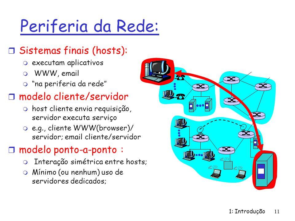 1: Introdução 11 Periferia da Rede: r Sistemas finais (hosts): m executam aplicativos m WWW, email m na periferia da rede r modelo cliente/servidor m host cliente envia requisição, servidor executa serviço m e.g., cliente WWW(browser)/ servidor; email cliente/servidor r modelo ponto-a-ponto : m Interação simétrica entre hosts; m Mínimo (ou nenhum) uso de servidores dedicados;
