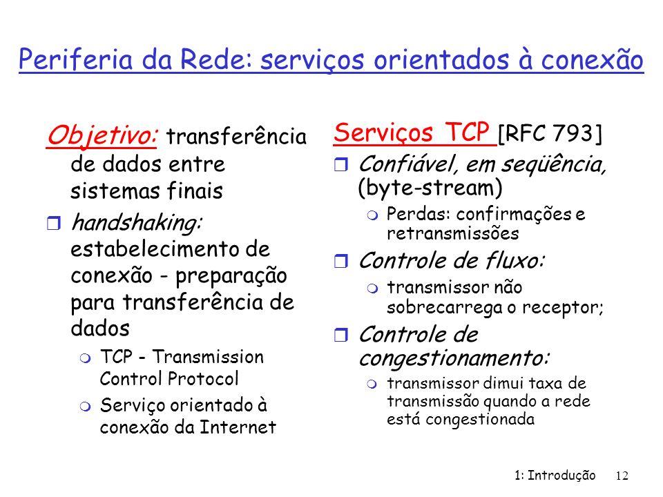 1: Introdução 12 Periferia da Rede: serviços orientados à conexão Objetivo: transferência de dados entre sistemas finais r handshaking: estabelecimento de conexão - preparação para transferência de dados m TCP - Transmission Control Protocol m Serviço orientado à conexão da Internet Serviços TCP [RFC 793] r Confiável, em seqüência, (byte-stream) m Perdas: confirmações e retransmissões r Controle de fluxo: m transmissor não sobrecarrega o receptor; r Controle de congestionamento: m transmissor dimui taxa de transmissão quando a rede está congestionada
