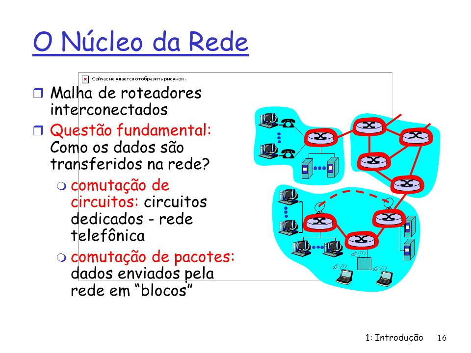 1: Introdução 16 O Núcleo da Rede r Malha de roteadores interconectados r Questão fundamental: Como os dados são transferidos na rede.
