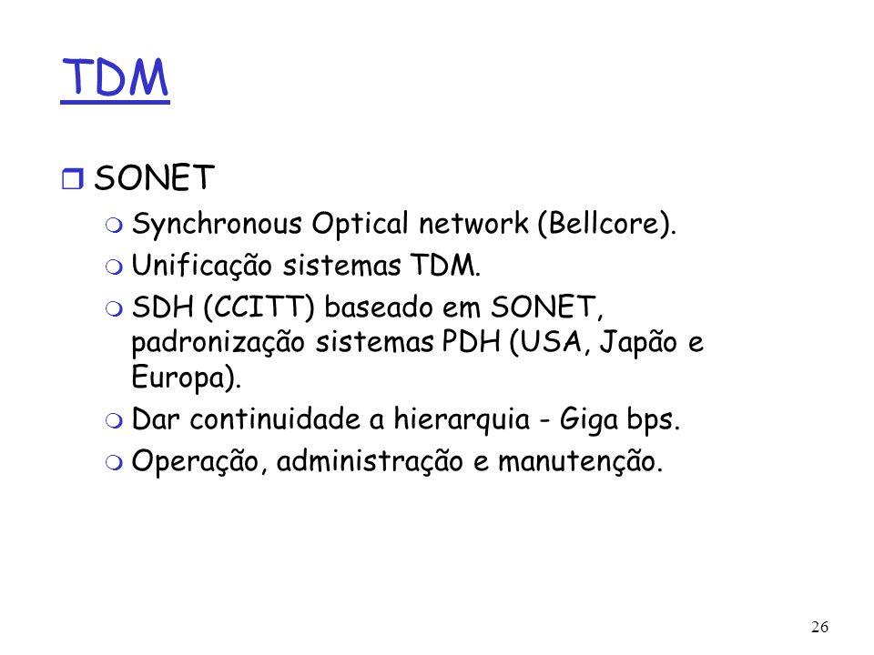 26 TDM r SONET m Synchronous Optical network (Bellcore). m Unificação sistemas TDM. m SDH (CCITT) baseado em SONET, padronização sistemas PDH (USA, Ja
