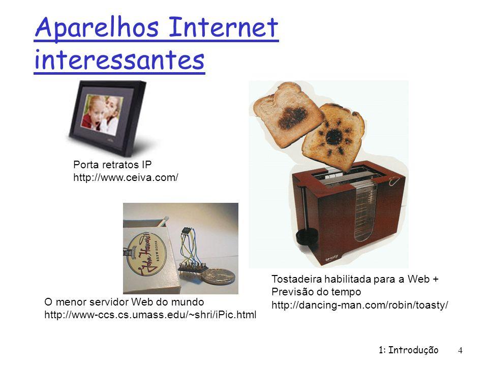 1: Introdução 4 Aparelhos Internet interessantes O menor servidor Web do mundo http://www-ccs.cs.umass.edu/~shri/iPic.html Porta retratos IP http://ww
