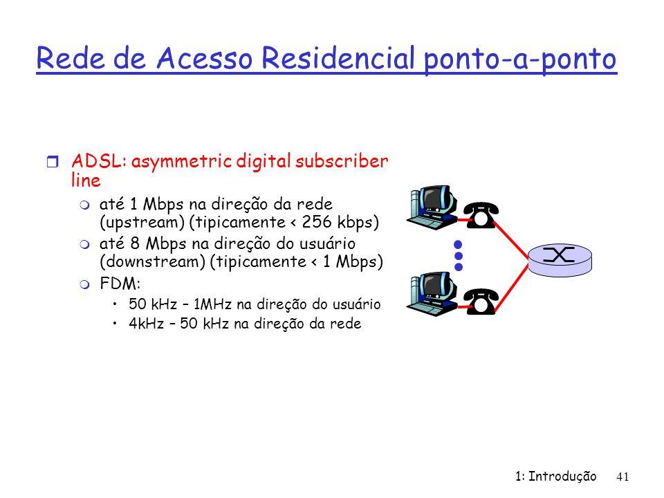 1: Introdução 41 Rede de Acesso Residencial ponto-a-ponto r ADSL: asymmetric digital subscriber line m até 1 Mbps na direção da rede (upstream) (tipicamente < 256 kbps) m até 8 Mbps na direção do usuário (downstream) (tipicamente < 1 Mbps) m FDM: 50 kHz – 1MHz na direção do usuário 4kHz – 50 kHz na direção da rede