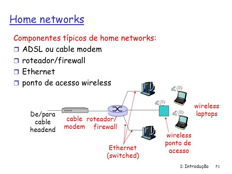 1: Introdução 51 Home networks Componentes típicos de home networks: r ADSL ou cable modem r roteador/firewall r Ethernet r ponto de acesso wireless w
