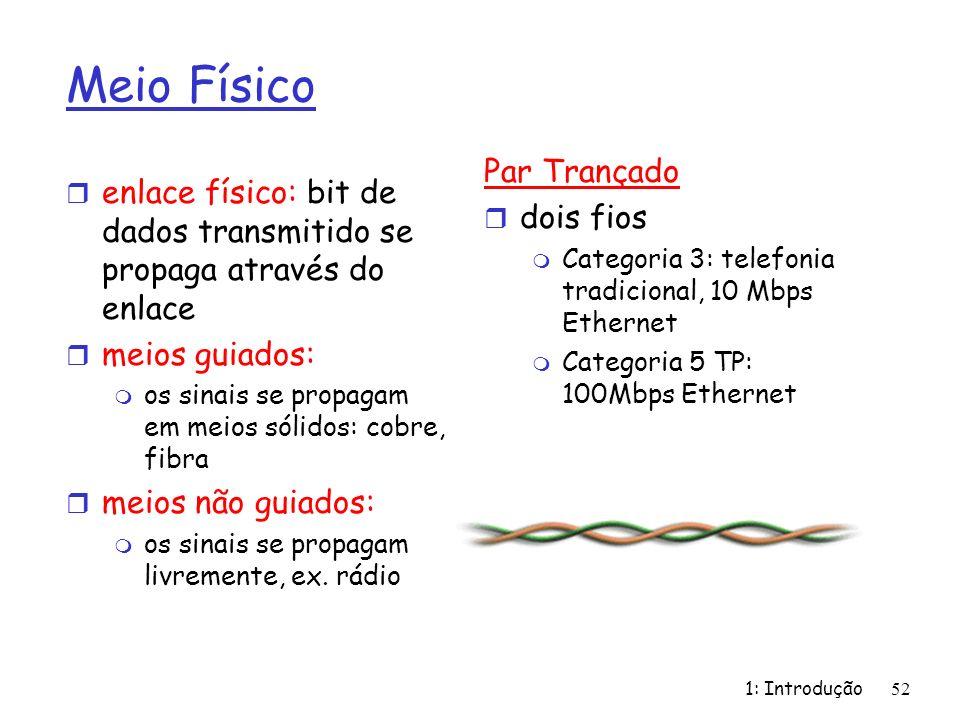 1: Introdução 52 Meio Físico r enlace físico: bit de dados transmitido se propaga através do enlace r meios guiados: m os sinais se propagam em meios sólidos: cobre, fibra r meios não guiados: m os sinais se propagam livremente, ex.
