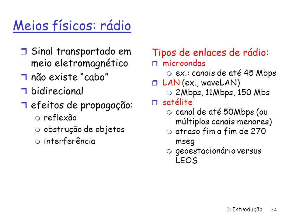 1: Introdução 54 Meios físicos: rádio r Sinal transportado em meio eletromagnético r não existe cabo r bidirecional r efeitos de propagação: m reflexão m obstrução de objetos m interferência Tipos de enlaces de rádio: r microondas m ex.: canais de até 45 Mbps r LAN (ex., waveLAN) m 2Mbps, 11Mbps, 150 Mbs r satélite m canal de até 50Mbps (ou múltiplos canais menores) m atraso fim a fim de 270 mseg m geoestacionário versus LEOS