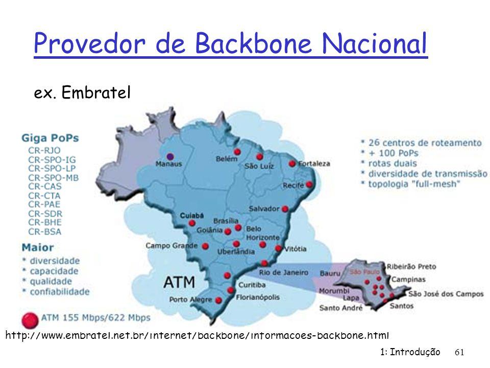 1: Introdução 61 Provedor de Backbone Nacional ex. Embratel http://www.embratel.net.br/internet/backbone/informacoes-backbone.html
