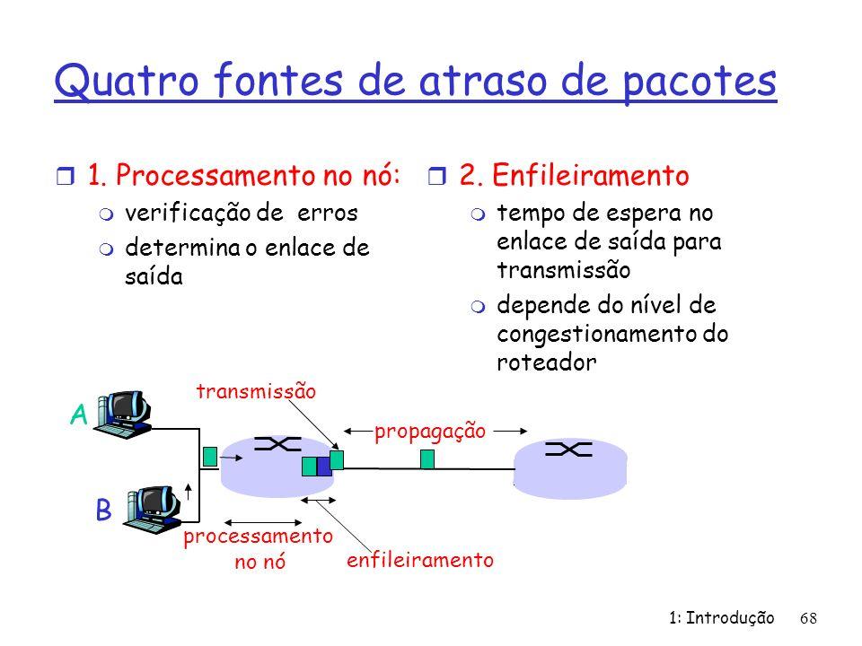 1: Introdução 68 Quatro fontes de atraso de pacotes r 1. Processamento no nó: m verificação de erros m determina o enlace de saída A B propagação tran