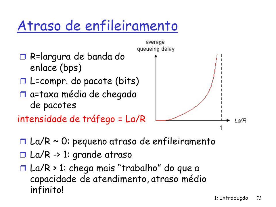 1: Introdução 73 Atraso de enfileiramento r R=largura de banda do enlace (bps) r L=compr. do pacote (bits) r a=taxa média de chegada de pacotes intens