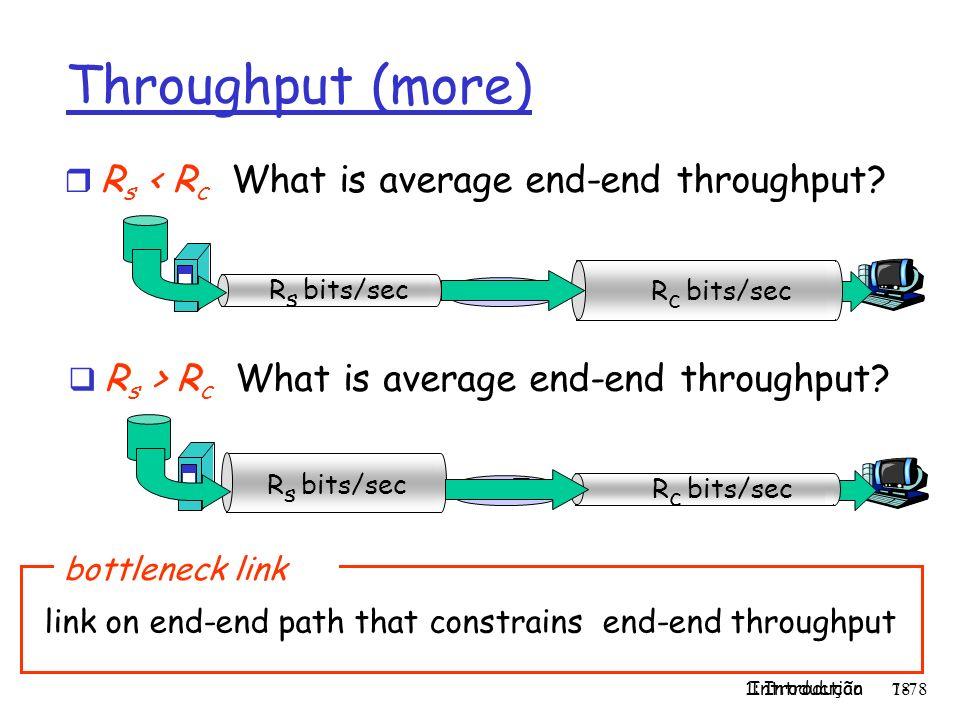 1: Introdução 78 Introduction 1-78 Throughput (more) r R s < R c What is average end-end throughput? R s bits/sec R c bits/sec R s > R c What is avera