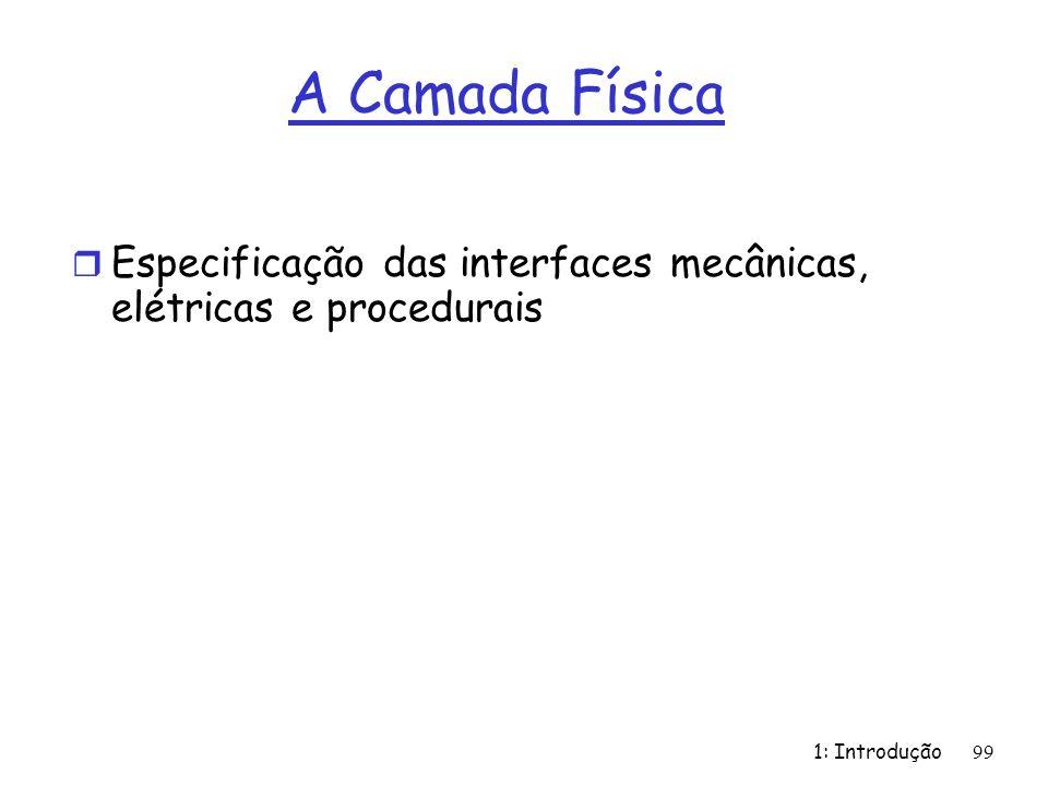 1: Introdução 99 A Camada Física r Especificação das interfaces mecânicas, elétricas e procedurais