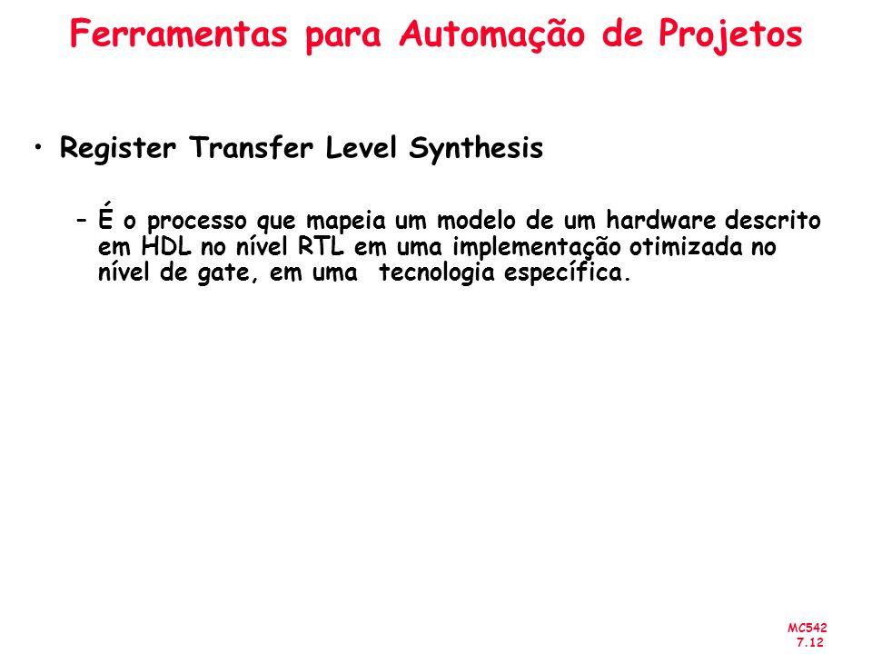 MC542 7.12 Ferramentas para Automação de Projetos Register Transfer Level Synthesis –É o processo que mapeia um modelo de um hardware descrito em HDL