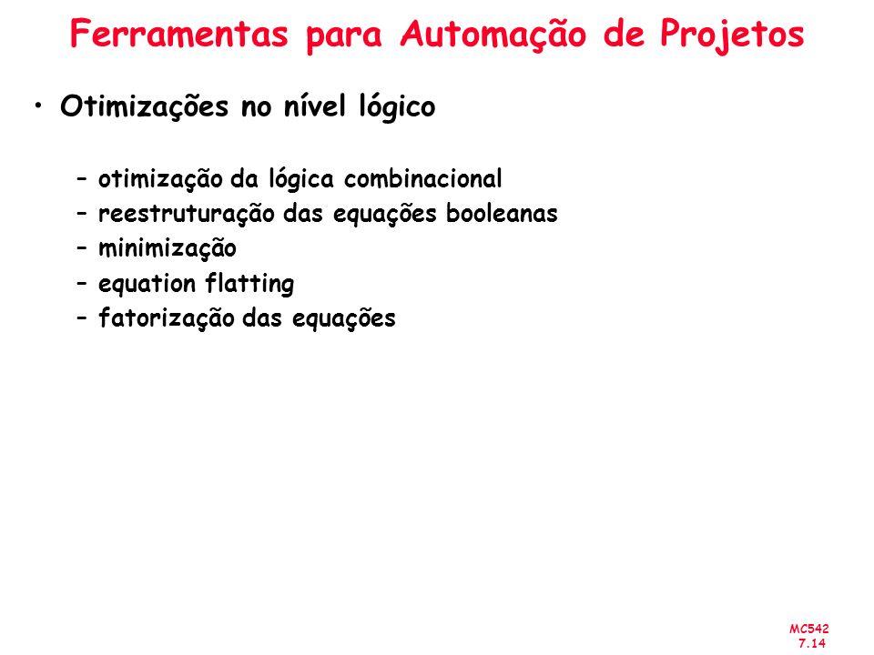 MC542 7.14 Ferramentas para Automação de Projetos Otimizações no nível lógico –otimização da lógica combinacional –reestruturação das equações boolean