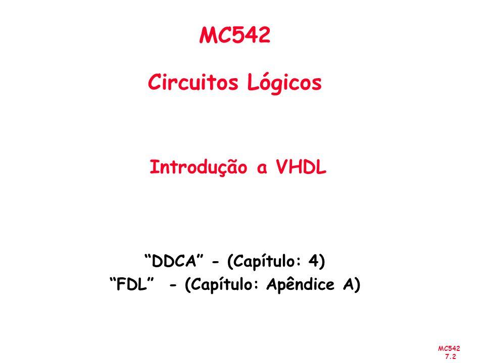 MC542 7.2 MC542 Circuitos Lógicos Introdução a VHDL DDCA - (Capítulo: 4) FDL - (Capítulo: Apêndice A)
