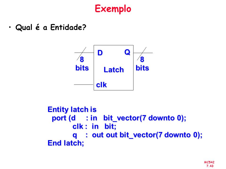 MC542 7.43 Exemplo Qual é a Entidade? D clk Q 8bits8bits Latch Entity latch is port (d : in bit_vector(7 downto 0); port (d : in bit_vector(7 downto 0