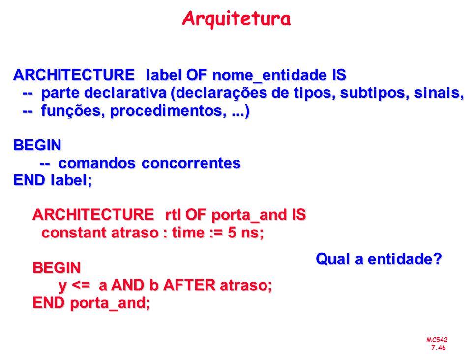 MC542 7.46 Arquitetura ARCHITECTURE label OF nome_entidade IS -- parte declarativa (declarações de tipos, subtipos, sinais, -- parte declarativa (decl
