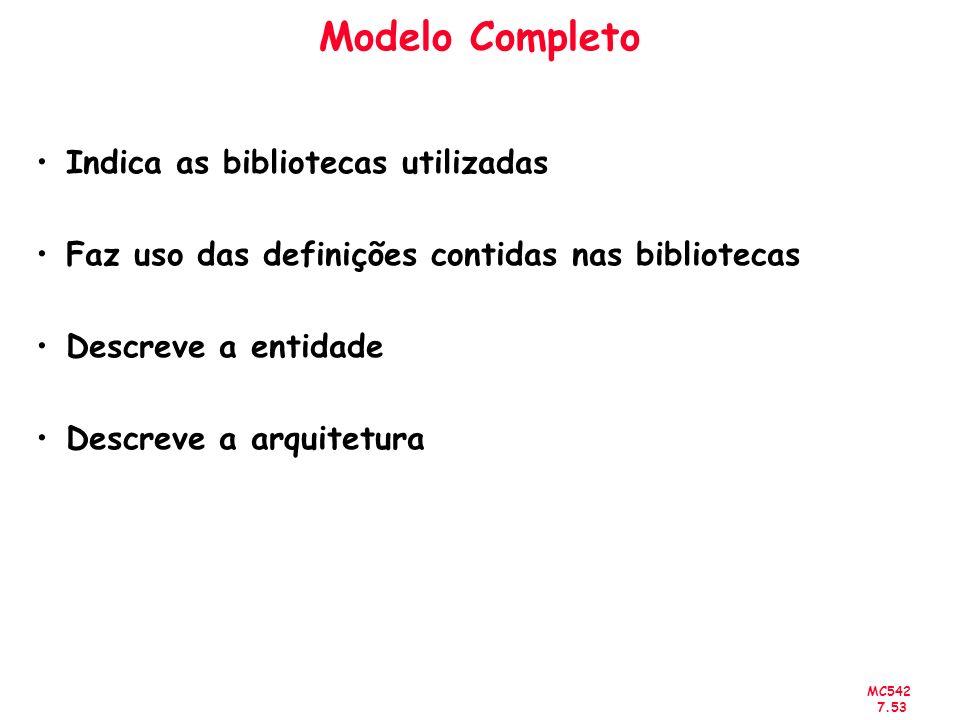 MC542 7.53 Modelo Completo Indica as bibliotecas utilizadas Faz uso das definições contidas nas bibliotecas Descreve a entidade Descreve a arquitetura