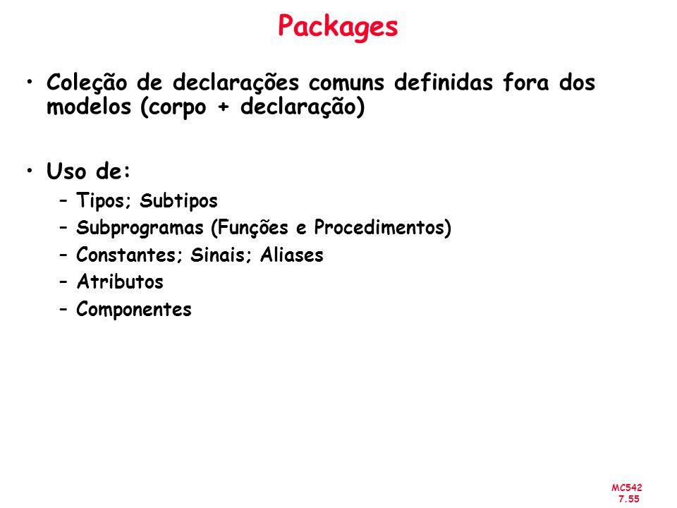 MC542 7.55 Packages Coleção de declarações comuns definidas fora dos modelos (corpo + declaração) Uso de: –Tipos; Subtipos –Subprogramas (Funções e Pr