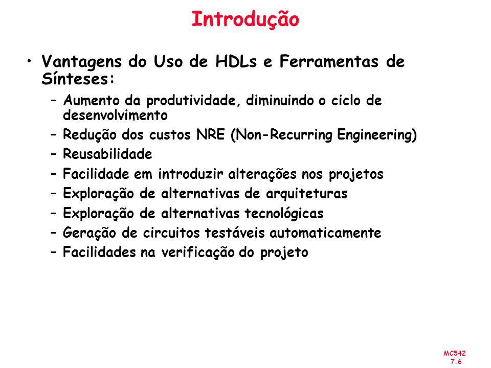MC542 7.6 Introdução Vantagens do Uso de HDLs e Ferramentas de Sínteses: –Aumento da produtividade, diminuindo o ciclo de desenvolvimento –Redução dos