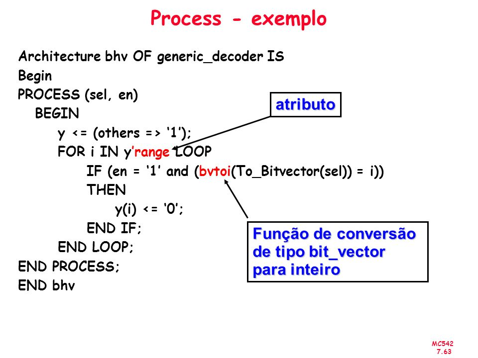 MC542 7.63 Process - exemplo Architecture bhv OF generic_decoder IS Begin PROCESS (sel, en) BEGIN y 1); FOR i IN yrange LOOP IF (en = 1 and (bvtoi(To_
