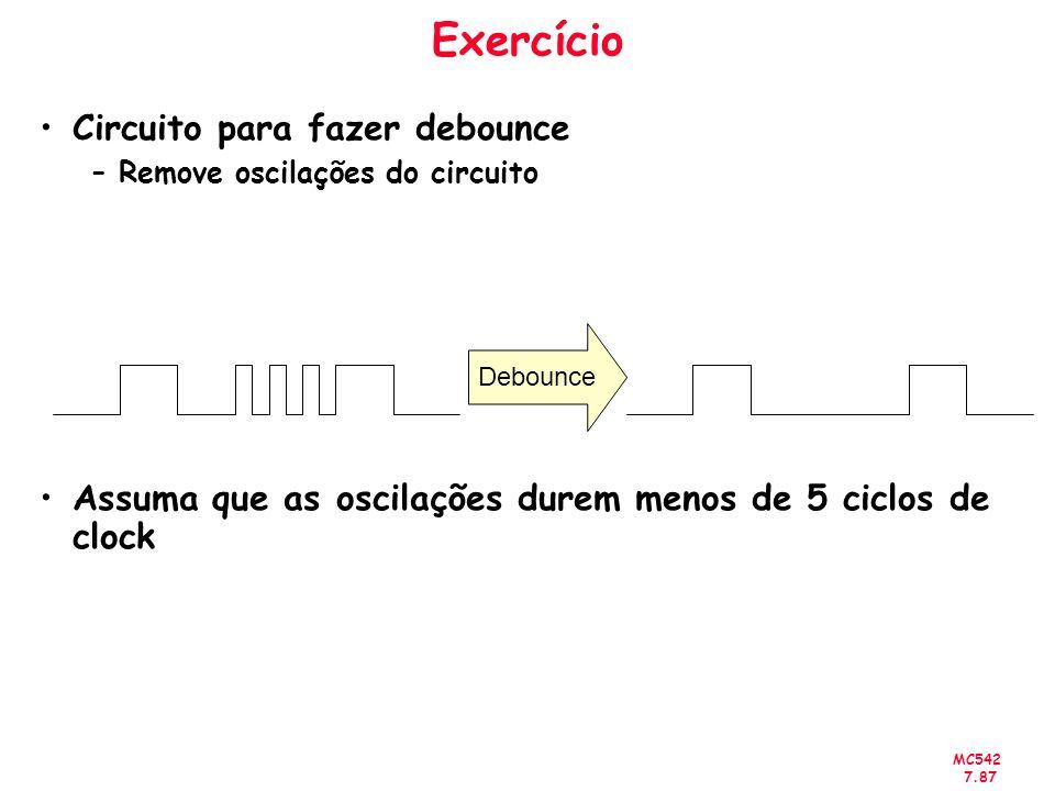 MC542 7.87 Exercício Circuito para fazer debounce –Remove oscilações do circuito Assuma que as oscilações durem menos de 5 ciclos de clock Debounce
