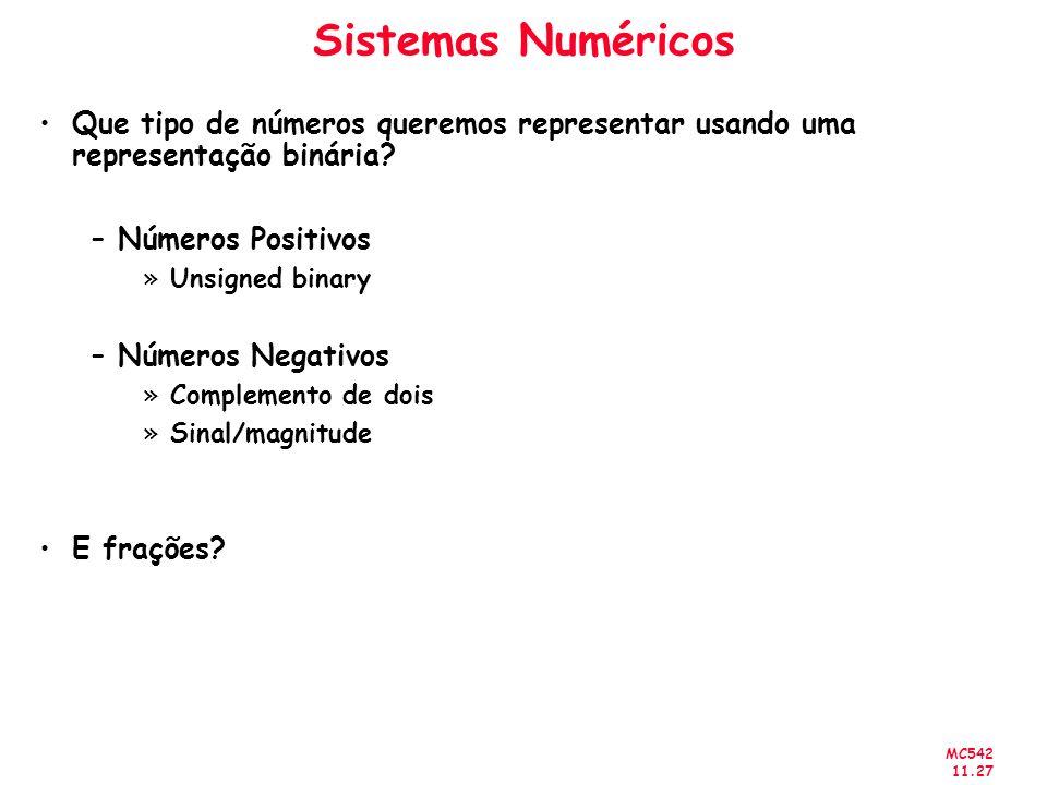 MC542 11.27 Sistemas Numéricos Que tipo de números queremos representar usando uma representação binária? –Números Positivos »Unsigned binary –Números