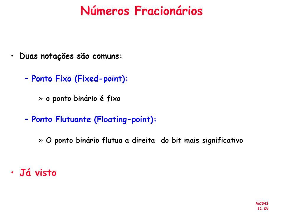 MC542 11.28 Números Fracionários Duas notações são comuns: –Ponto Fixo (Fixed-point): »o ponto binário é fixo –Ponto Flutuante (Floating-point): »O po