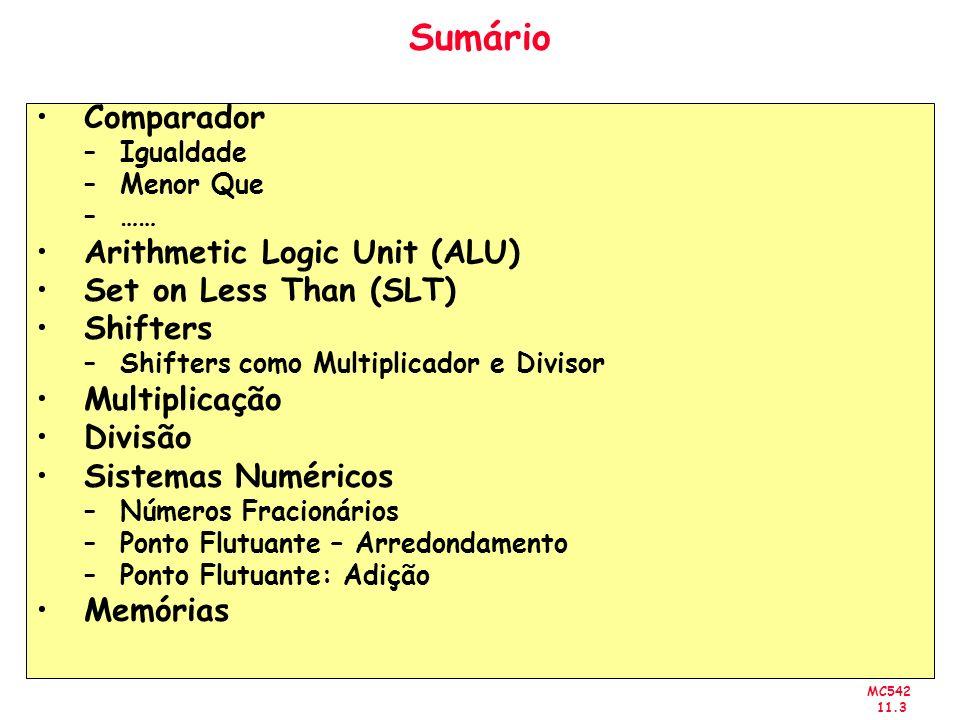 MC542 11.3 Sumário Comparador –Igualdade –Menor Que –…… Arithmetic Logic Unit (ALU) Set on Less Than (SLT) Shifters –Shifters como Multiplicador e Div