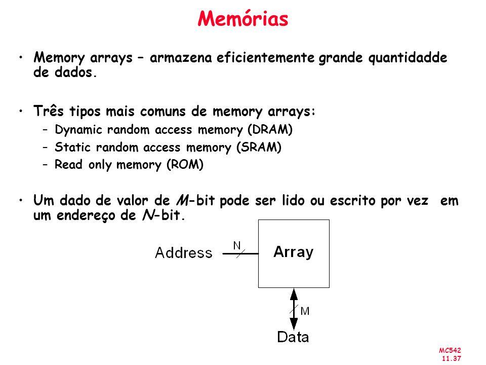 MC542 11.37 Memórias Memory arrays – armazena eficientemente grande quantidadde de dados. Três tipos mais comuns de memory arrays: –Dynamic random acc