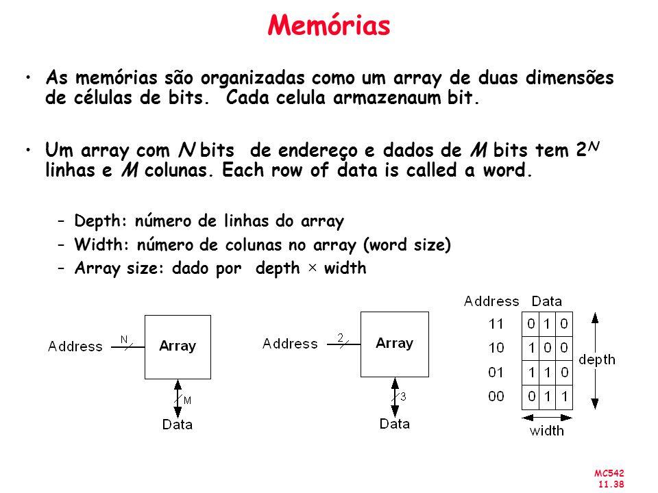 MC542 11.38 Memórias As memórias são organizadas como um array de duas dimensões de células de bits. Cada celula armazenaum bit. Um array com N bits d