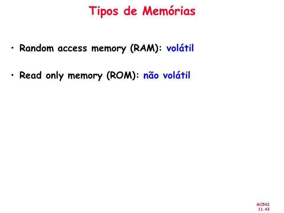 MC542 11.43 Tipos de Memórias Random access memory (RAM): volátil Read only memory (ROM): não volátil