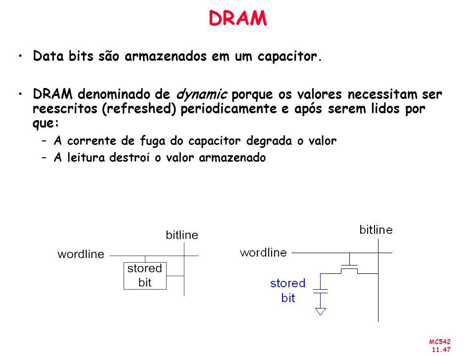 MC542 11.47 DRAM Data bits são armazenados em um capacitor. DRAM denominado de dynamic porque os valores necessitam ser reescritos (refreshed) periodi