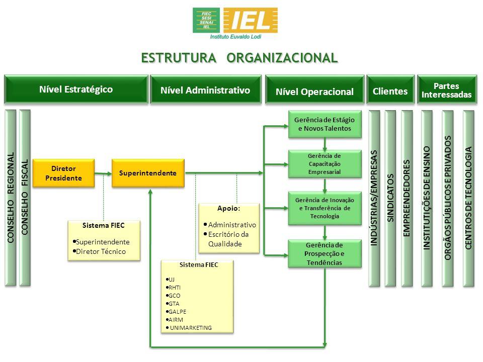 ESTRUTURA ORGANIZACIONAL Nível Estratégico Nível Administrativo Nível Operacional Clientes Partes Interessadas CONSELHO FISCAL CONSELHO REGIONAL Diret