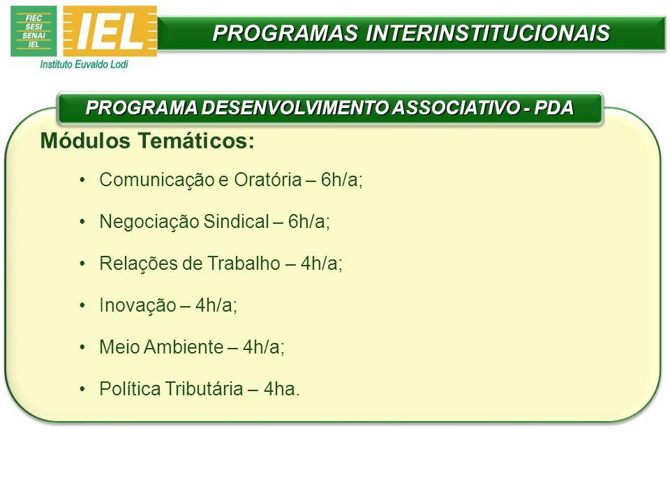 PROGRAMAS INTERINSTITUCIONAIS Módulos Temáticos: Comunicação e Oratória – 6h/a; Negociação Sindical – 6h/a; Relações de Trabalho – 4h/a; Inovação – 4h