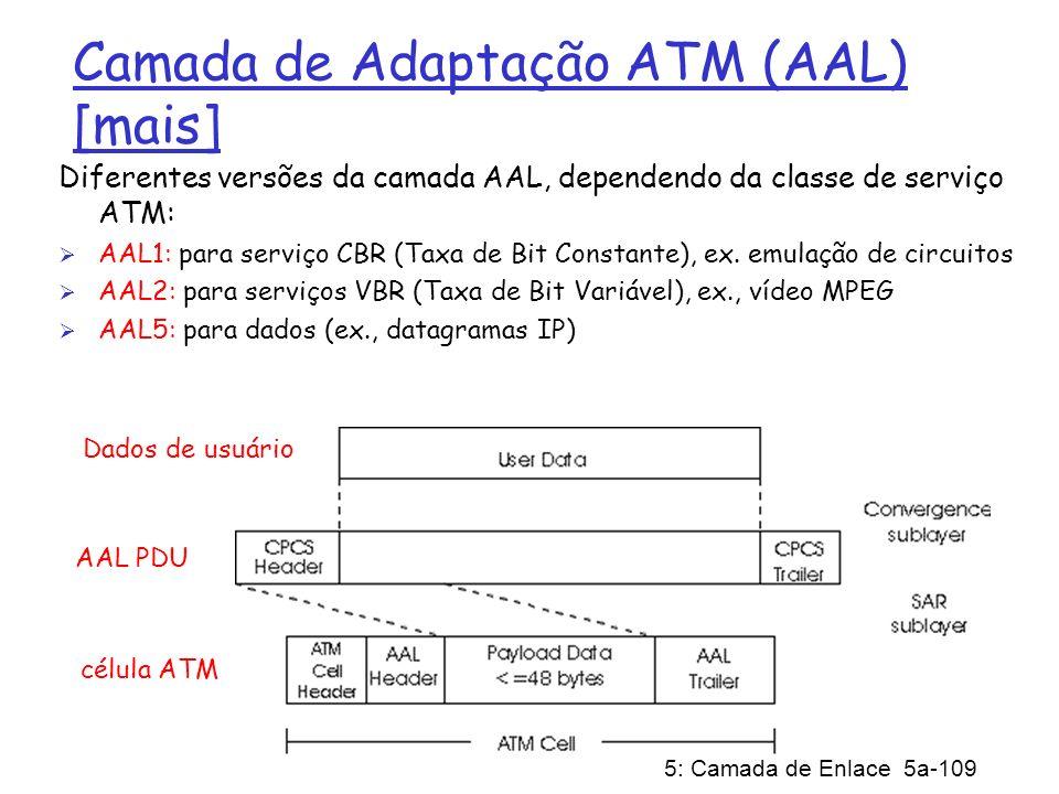 5: Camada de Enlace 5a-109 Camada de Adaptação ATM (AAL) [mais] Diferentes versões da camada AAL, dependendo da classe de serviço ATM: AAL1: para serv