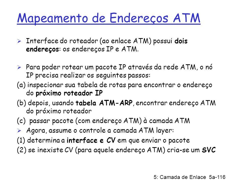 5: Camada de Enlace 5a-116 Mapeamento de Endereços ATM Interface do roteador (ao enlace ATM) possui dois endereços: os endereços IP e ATM. Para poder