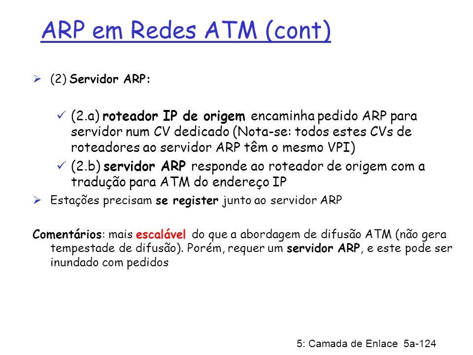 5: Camada de Enlace 5a-124 ARP em Redes ATM (cont) (2) Servidor ARP: (2.a) roteador IP de origem encaminha pedido ARP para servidor num CV dedicado (N