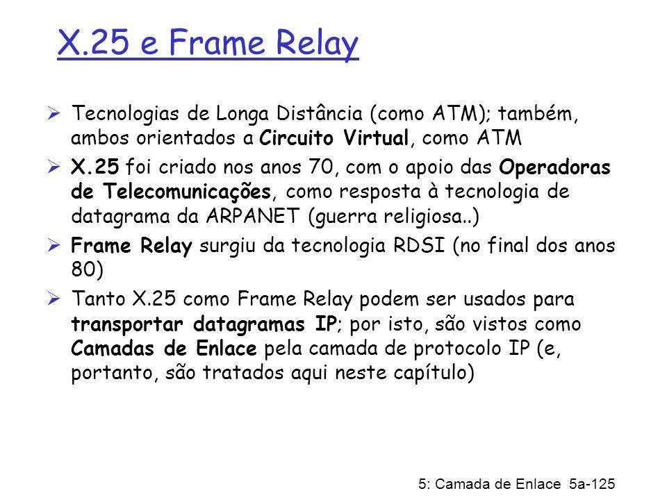 5: Camada de Enlace 5a-125 X.25 e Frame Relay Tecnologias de Longa Distância (como ATM); também, ambos orientados a Circuito Virtual, como ATM X.25 fo
