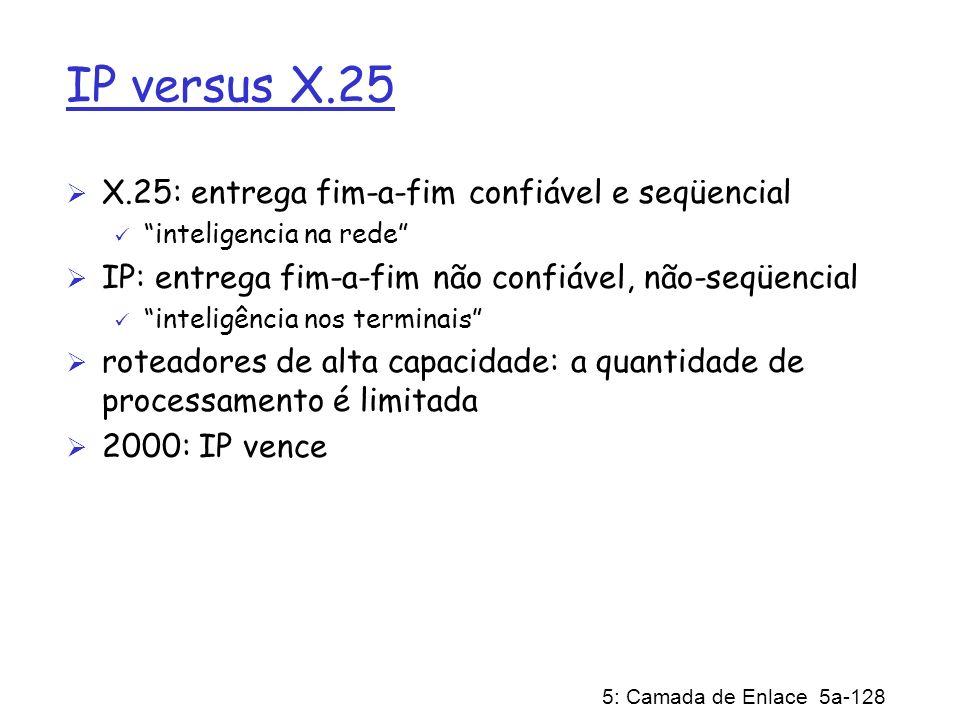5: Camada de Enlace 5a-128 IP versus X.25 X.25: entrega fim-a-fim confiável e seqüencial inteligencia na rede IP: entrega fim-a-fim não confiável, não