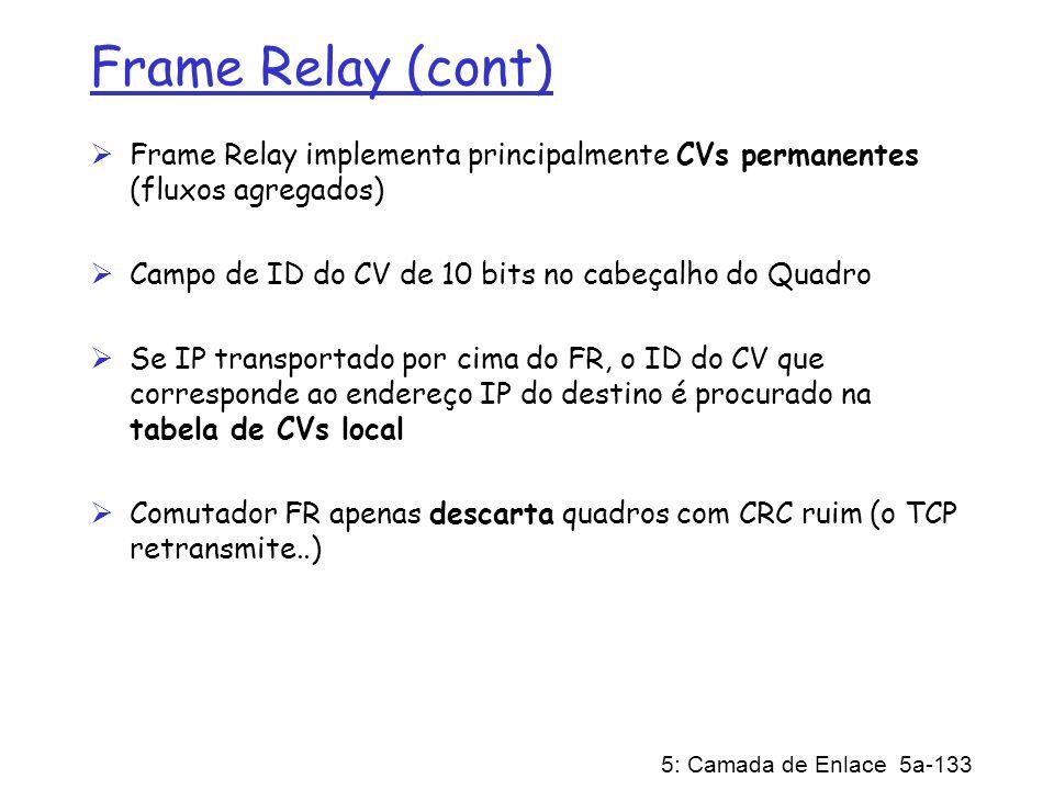 5: Camada de Enlace 5a-133 Frame Relay (cont) Frame Relay implementa principalmente CVs permanentes (fluxos agregados) Campo de ID do CV de 10 bits no