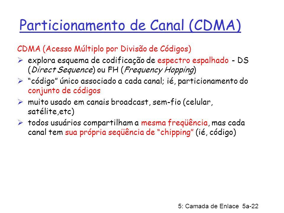 5: Camada de Enlace 5a-22 Particionamento de Canal (CDMA) CDMA (Acesso Múltiplo por Divisão de Códigos) explora esquema de codificação de espectro esp