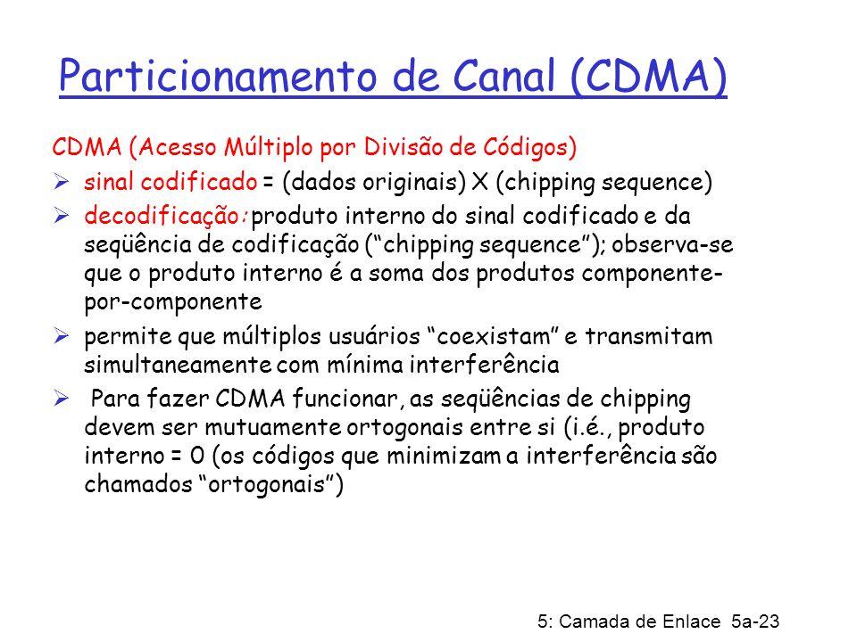 5: Camada de Enlace 5a-23 Particionamento de Canal (CDMA) CDMA (Acesso Múltiplo por Divisão de Códigos) sinal codificado = (dados originais) X (chippi