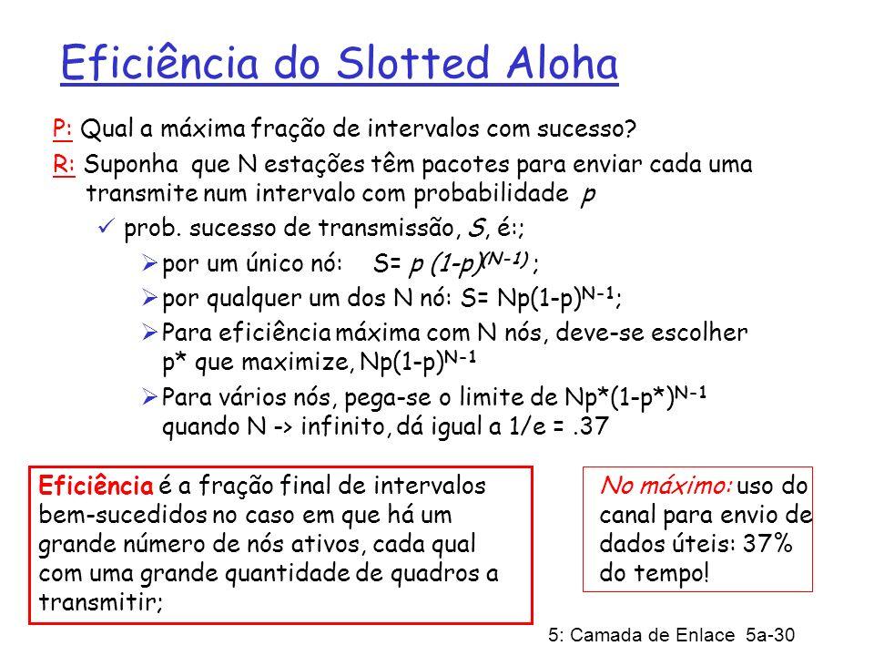5: Camada de Enlace 5a-30 Eficiência do Slotted Aloha P: Qual a máxima fração de intervalos com sucesso? R: Suponha que N estações têm pacotes para en