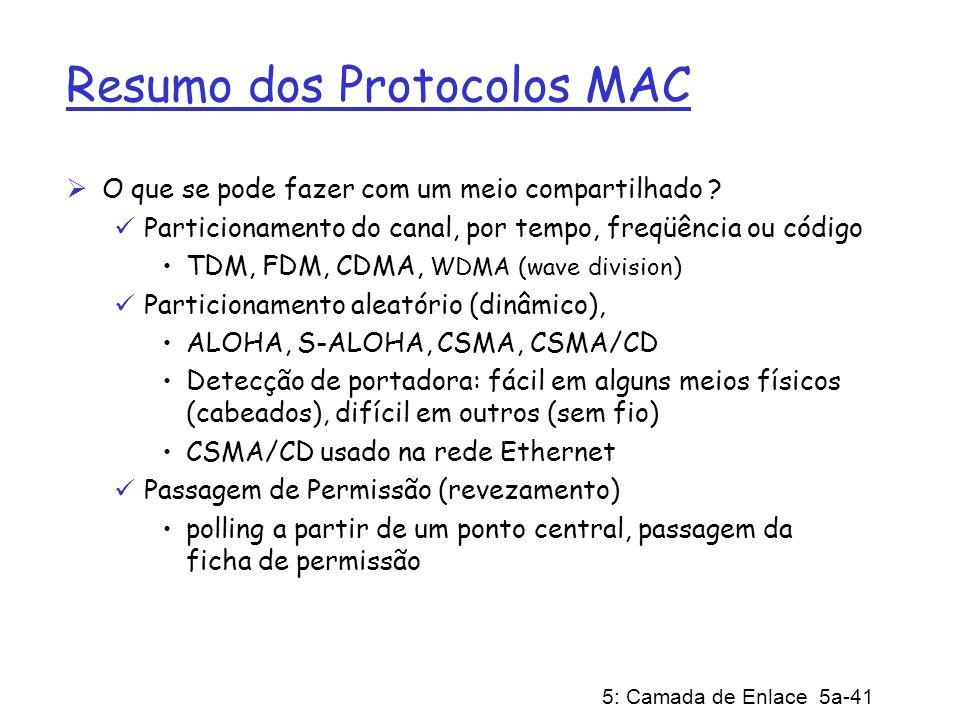 5: Camada de Enlace 5a-41 Resumo dos Protocolos MAC O que se pode fazer com um meio compartilhado ? Particionamento do canal, por tempo, freqüência ou