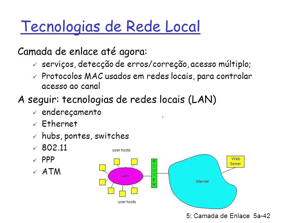 5: Camada de Enlace 5a-42 Tecnologias de Rede Local Camada de enlace até agora: serviços, detecção de erros/correção, acesso múltiplo; Protocolos MAC