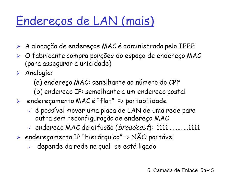 5: Camada de Enlace 5a-45 Endereços de LAN (mais) A alocação de endereços MAC é administrada pelo IEEE O fabricante compra porções do espaço de endere