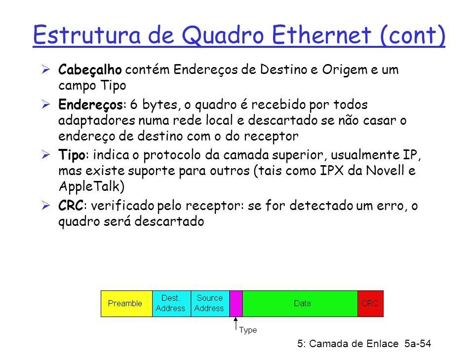 5: Camada de Enlace 5a-54 Estrutura de Quadro Ethernet (cont) Cabeçalho contém Endereços de Destino e Origem e um campo Tipo Endereços: 6 bytes, o qua